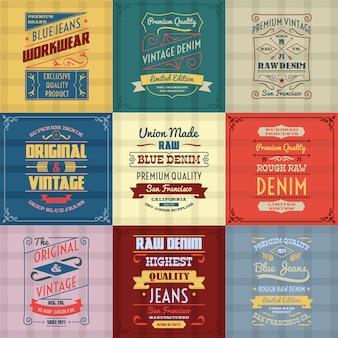 Conjunto de colores de fondo de tipografía de mezclilla