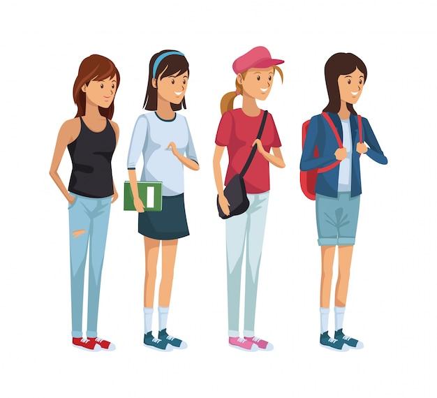 Conjunto de colores grupo de estudiantes de pie