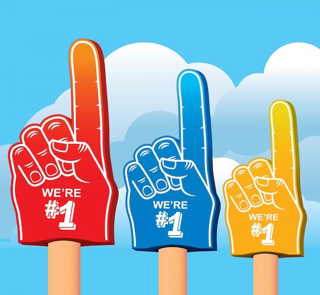 Conjunto de colores de la mano de espuma.