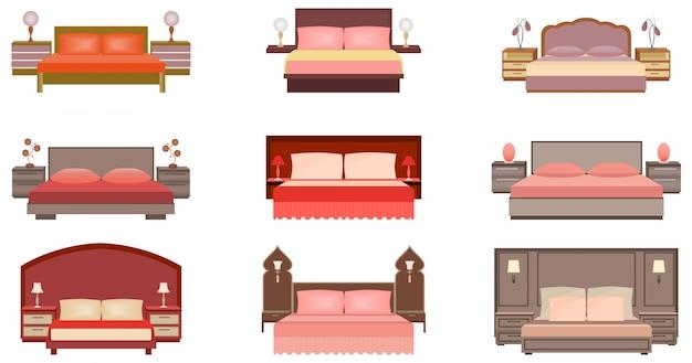 Conjunto de colores pastel de nueve camas con mesitas de noche, lámparas y cabeceros.