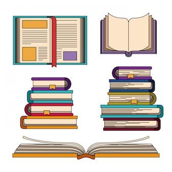 Conjunto de colores con pila de conocimientos de libros.
