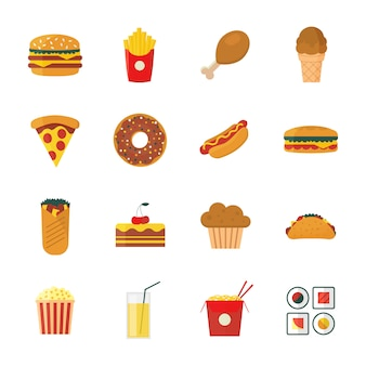 Conjunto de colores planos / dibujos animados diseño conjunto de iconos de comida rápida.