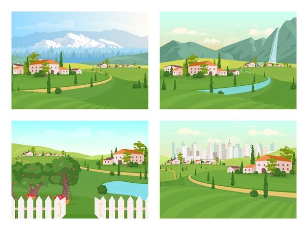 Conjunto de colores planos de paisajes de toscana. casa de campo. área suburbana cerca de la ciudad. camino a las montañas cerca del pueblo. paisaje de dibujos animados 2d de campo con la naturaleza en la colección de fondo