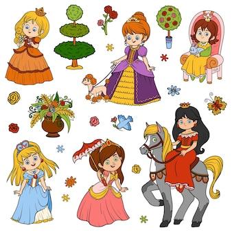 Conjunto de colores de princesa, colección de dibujos animados de vector de personajes infantiles