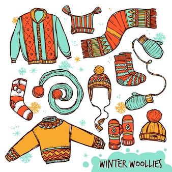 Conjunto de colores de ropa de punto cálido de invierno