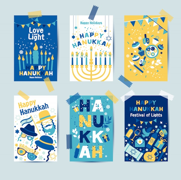 Conjunto de colores seis tarjetas de felicitación de hanukkah con velas