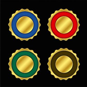 Conjunto de colores vacíos etiquetas doradas o placa.