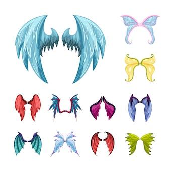 Conjunto de coloridas alas mágicas. graciosas criaturas míticas de alas de hadas con plumas de colores y escamas, símbolos de dragones antiguos y espejos místicos de manticoras de mundos paralelos. mitología vectorial.