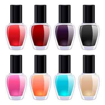 Conjunto de coloridas botellas de esmalte de uñas. producto cosmético.