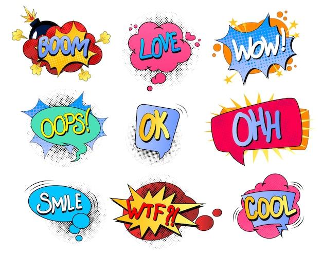 Conjunto de coloridas burbujas de discurso cómico