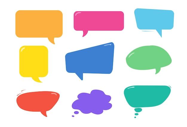 Conjunto de coloridas burbujas de discurso.
