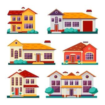 Conjunto de coloridas casas diferentes.