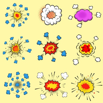 Conjunto de coloridas explosiones de estilo cómic. elemento de cartel, tarjeta, volante, banner. imagen