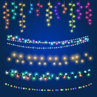 Conjunto de coloridas guirnaldas festivas