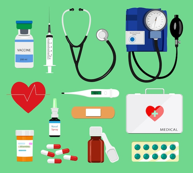 Conjunto de coloridas herramientas médicas: jeringa, estetoscopio, termómetro, pastillas, botiquín de primeros auxilios, medidor de presión arterial. ilustración de iconos médicos