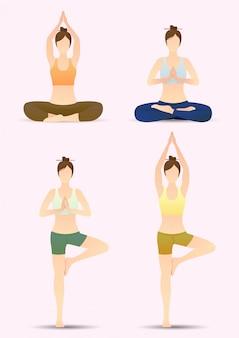 Conjunto de coloridas mujeres de yoga