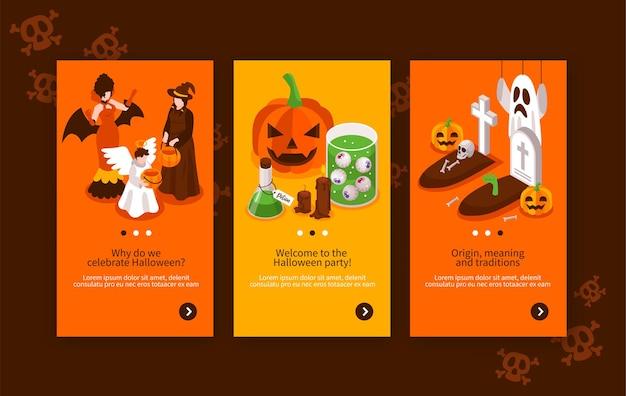 Conjunto de coloridas pancartas isométricas con elementos de fiesta de halloween tumba ángel bruja vampiro jack o lantern