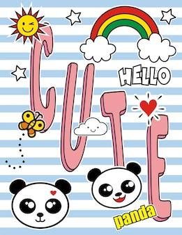 Conjunto de coloridas pandas doodles y elementos