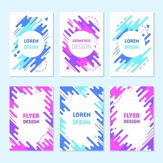 Conjunto de coloridas tarjetas de moda con diseño plano dinámico. marco geométrico azul y morado de memphis.