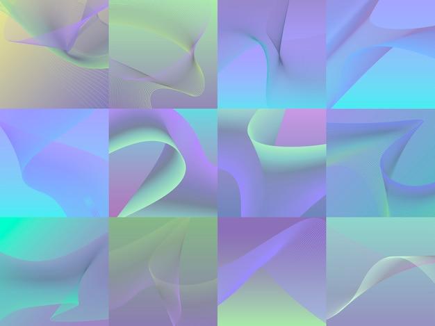 Conjunto de coloridas vibrantes gráficos de onda 3d