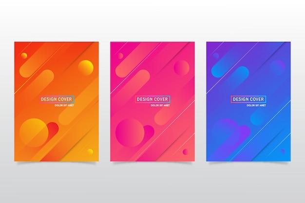 Conjunto colorido abstracto de plantilla de diseño de portada o flayer