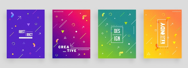 Conjunto colorido abstracto de plantilla de diseño de portada o volante.