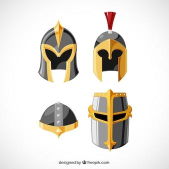 Conjunto colorido de cascos de caballeros