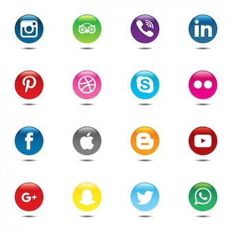 Conjunto colorido y circular de iconos de las redes sociales