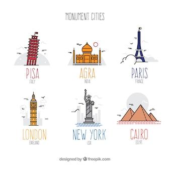 Conjunto colorido de ciudades monumentales