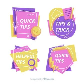 Conjunto colorido de consejos rápidos