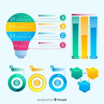 Conjunto colorido de elementos infográficos con estilo de degradado