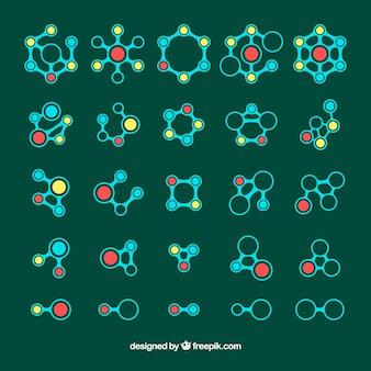 Conjunto colorido de moléculas