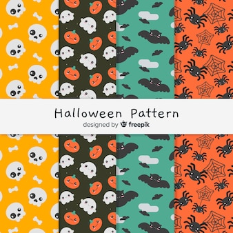 Conjunto colorido de patrones de halloween con diseño plano