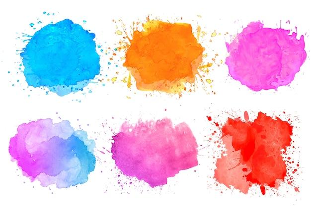Conjunto de colorido diseño de manchas de salpicaduras de acuarela