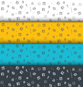 Conjunto de colorido diseño de textura de medios sociales doodle