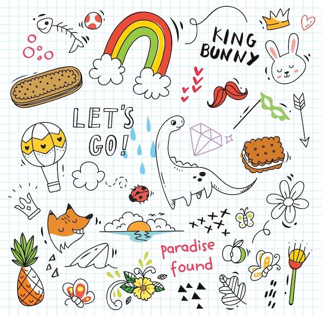 Conjunto de colorido doodle sobre papel