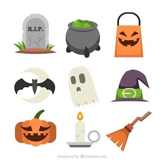Conjunto colorido de elementos de halloween