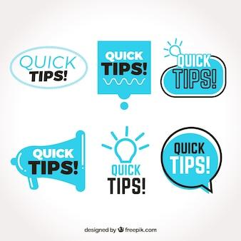 Conjunto colorido de etiquetas con consejos con diseño plano