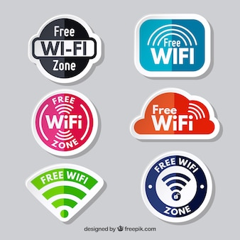Conjunto colorido de etiquetas para zonas de wifi gratis