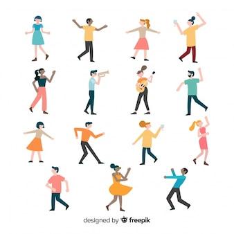 Conjunto colorido de gente bailando