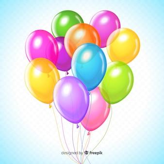 Conjunto colorido de globos de cumpleaños