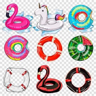 Conjunto colorido del icono de los anillos de la nadada aislado.