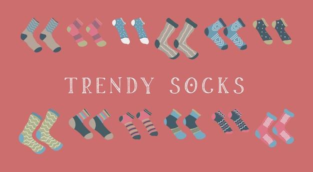 Conjunto colorido de ilustración de calcetines de moda