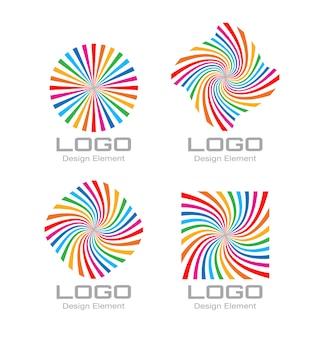 Conjunto de colorido logotipo de espiral de arco iris brillante. vector