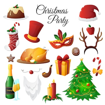 Conjunto colorido del partido de los símbolos de la navidad y del año nuevo aislado en el fondo blanco