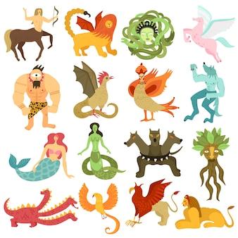 Conjunto colorido de personajes de criaturas míticas