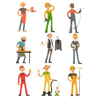 Conjunto colorido de profesión de hombres