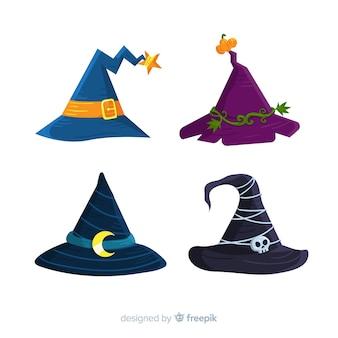 Conjunto colorido de sombreros de bruja de halloween