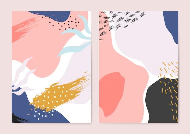 Conjunto de colorido vector de fondos de estilo de memphis