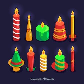 Conjunto colorido de velas de navidad